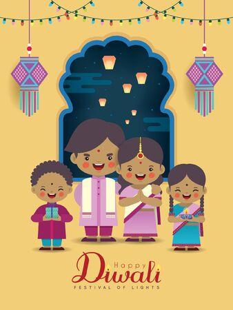 Diwali or Deepavali greeting card. Cartoon Indian family with colorful light bulbs, kandil (india lantern), diya (oil lamp) & window frame in flat vector illustration. (caption: Festival of Lights)