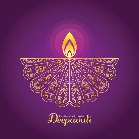 Diwali or Deepavali symbol or icon. Golden Diwali diya (india oil lamp) in line art style. Festival of Lights celebration vector illustration.