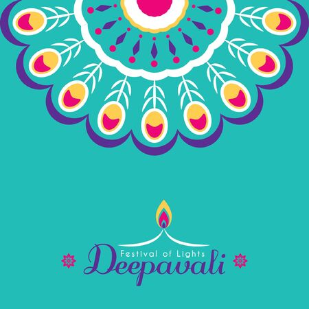 Diwali or Deepavali greeting card template design. Diwali pattern design element. Festival of Lights celebration vector illustration.
