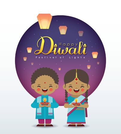 Deepavali or Diwali greeting card. Cartoon Indian girl & boy holding diya (india oil lamp) with sky lanterns in flat vector illustration. (caption: Festival of Lights)