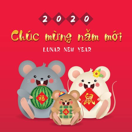 Tet 2020 year of the rat. Cute cartoon mouse family holding watermelon, couplet & banh chung (rice cake) isolated on red background. (translation: Vietnamese lunar new year) Illustration