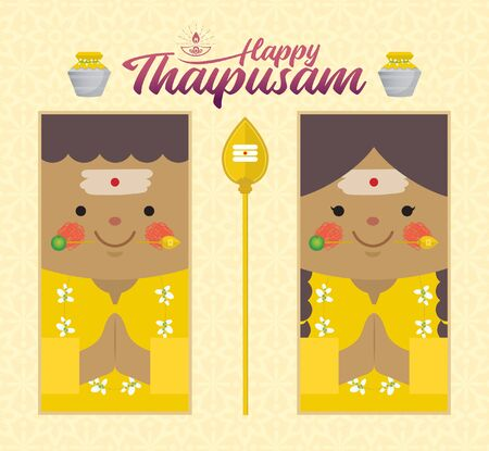 Thaipusam or Thaipoosam - a festival celebrated by the Tamil community. Cartoon Indian prayer with vel spear, paal kudam (milk pot) & diya (oil lamp) in flat design. Hinduism vector illustration.