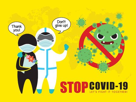 Stick figure man in medical disposable protective suit & discharged patients. Stop coronavirus (covid-19) vector illustration. Coronavirus pendemic concept art poster. Epidemic disease flat design. Illustration