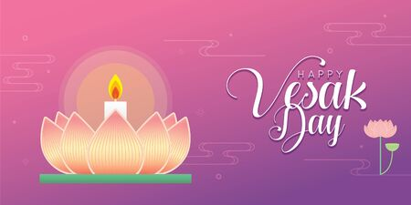 Happy vesak day or buddha purnima banner design. Lotus lamp in flat vector illustration on gradient background.