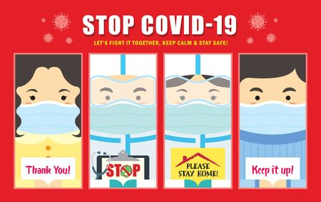 Cartoon doctor, nurse & people in medical face mask holding sign. Quarantine campaign of stay at home, stop coronavirus (covid-19) outbreak flat design.