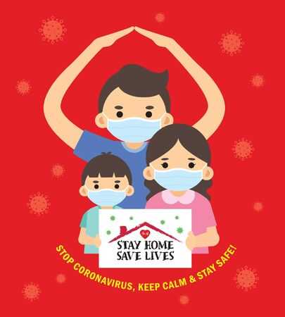 """Covid-19 quarantine campaign of stay at home flat design. Cartoon family wearing medical face mask holding sign """"stay home, save lives"""". Stop coronavirus, keep calm & stay safe!"""