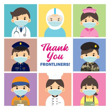 Thank you Frontliners who work for nation during coronavirus (covid-19) outbreak season. Cartoon doctor, medical staff, nurse, police, military personnel, couriers, food server & essential retailer.