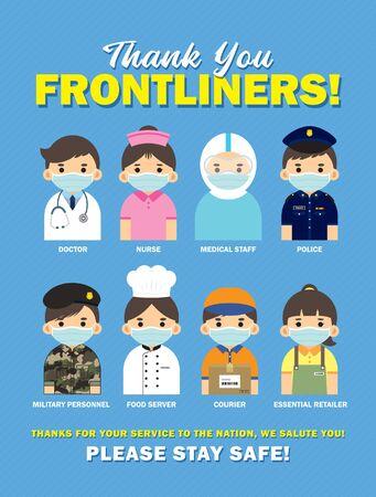 Merci aux Frontliners qui travaillent pour la nation pendant la saison des épidémies de coronavirus (covid-19). Médecin de bande dessinée, infirmière, personnel médical, police, personnel militaire, serveur de nourriture, coursiers et détaillant essentiel.