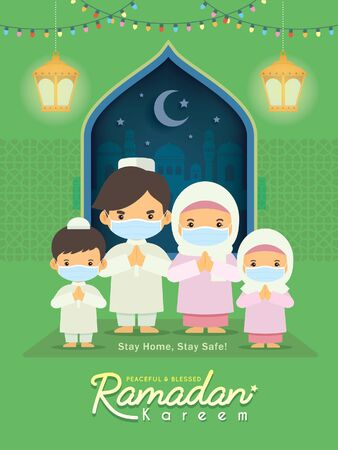 Ramadan kareem greeting illustration. Cartoon muslim or arabian family wearing face mask celebrate festival at home. Fanoos lantern & mosque in flat design. Stay home, stay safe.