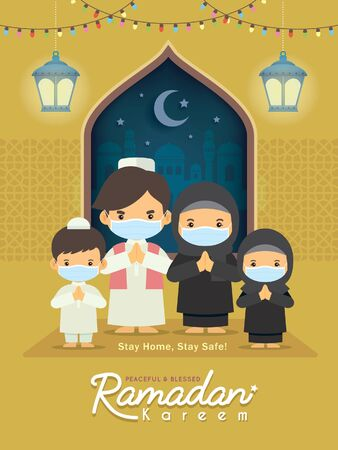 Ramadan kareem greeting illustration. Cartoon muslim or arabian family wearing face mask celebrate festival at home. Fanoos lantern & mosque in flat design. Stay home, stay safe. Vettoriali