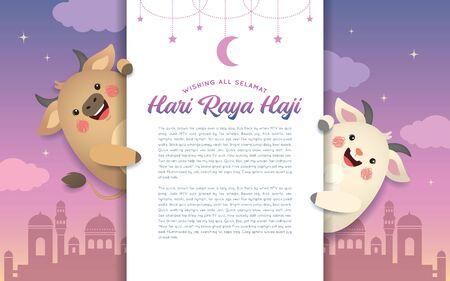 Eid al-Adha or Hari Raya Haji, the Festival of the Sacrifice. Cute cartoon cow and goat with greeting text & mosque. Kurban Bayrami in flat vector illustration.