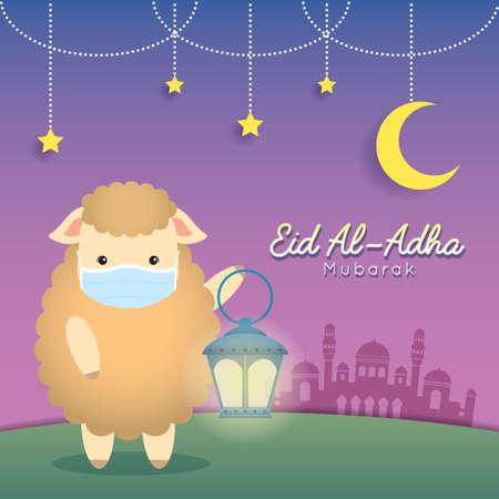Eid al adha mubarak greeting card. Cute cartoon sheep holding fanous lantern with mosque. Festival of Sacrifice flat vector illustration. Vector Illustration
