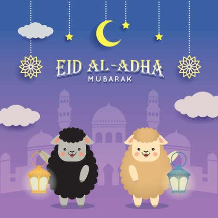Eid al adha mubarak greeting card. Cute cartoon black sheep and white sheep with mosque & fanous lantern. Festival of Sacrifice vector illustration. Vector Illustration