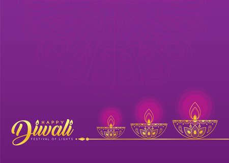 Diwali or Deepavali symbol or icon. Golden Diwali diya (india oil lamp) in line art style. Festival of Lights celebration vector illustration. Stock fotó - 155875101