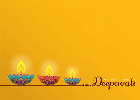 Deepavali or Diwali template or copy space. Beautiful burning diwali diya (india oil lamp) isolated on yellow background. Festival of Lights celebration vector illustration. Stock fotó - 155875104