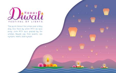 Diwali or Deepavali template design or copy space. Floating diya on river & beautiful sky lanterns with night landscape in flat vector design. Indian Festival of lights celebration.