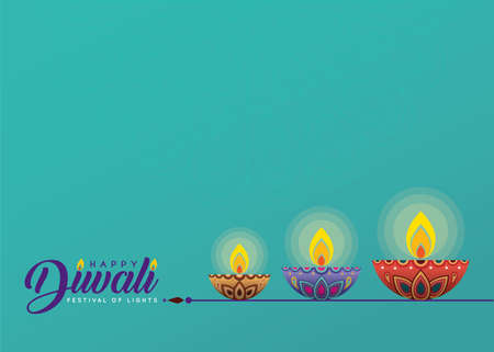Deepavali or Diwali template or copy space. Beautiful burning diwali diya (india oil lamp) isolated on turquoise background. Festival of Lights celebration vector illustration. Stock fotó - 155875107