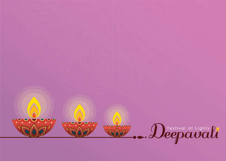 Deepavali or Diwali template or copy space. Beautiful burning diwali diya (india oil lamp) isolated on purple background. Festival of Lights celebration vector illustration. Stock fotó - 155875109