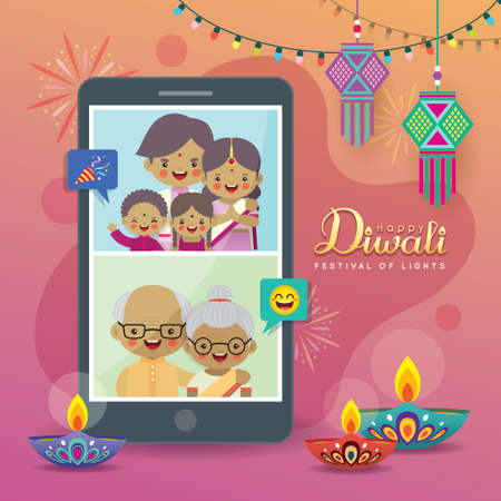 Cartoon Indian people video chat with family via smartphone to celebrate festival. Online Diwali or Deepavali celebration. Video conference or video call with parents & grandparents flat vector.