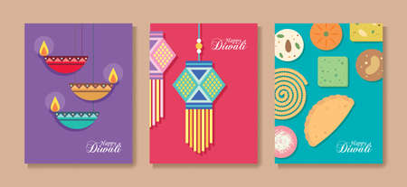 set of Diwali or Deepavali greeting card. Diya oil lamp, kandil lantern and Indian snack in graphic minimal style. Flat vector illustration. Illustration