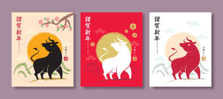 Chinese new year greeting card collection. Cow or bull silhouette with sunrise and spring landscape.  Flat vector illustration. (translation: Happy 2021 year of  the Ox)