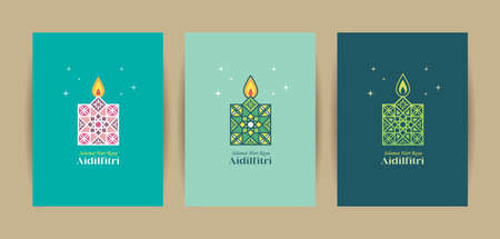 Hari Raya Aidilfitri greeting card template set. 3 different colors of pelita (oil lamp) symbol flat design. Modern morocco islamic motif pattern design. (translation: Fasting Day celebration)