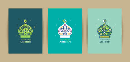 3 different colors of mosque symbol flat design. Hari Raya Aidilfitri greeting card template set. Modern islamic motif icon design. (translation: Fasting Day celebration)