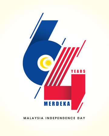 31 August - Malaysia Independence Day. Modern number 64 abstract art refer to Malaysia flag colour. 64th years symbol or logo design. Merdeka means independent or freedom. Logo