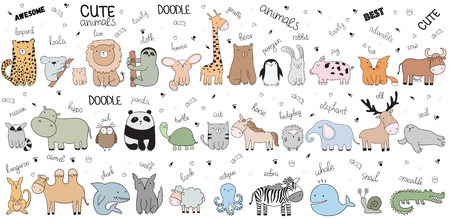 Vector cartoon big set of cute doodle animals. Perfect for postcard, birthday, baby book, children room. Lamb, crocodile, zebra, camel, panda, giraffe, shark, wolf, cow, snail