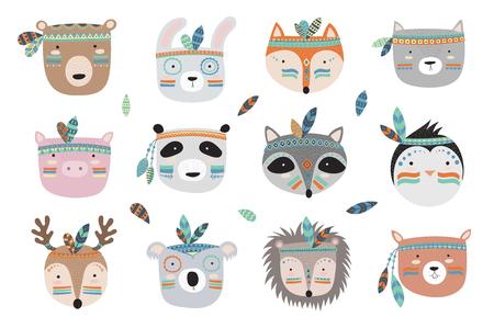 Vector Indiase tribale dieren gezichten collectie. Doodle illustratie. Vriendschapsdag, Valentijnsdag, jubileum, verjaardag, kinder- of tienerfeest