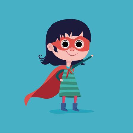 Little child is playing superhero. Girl power concept. Vector illustration Vettoriali