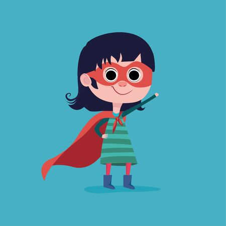 Little child is playing superhero. Girl power concept. Vector illustration 向量圖像