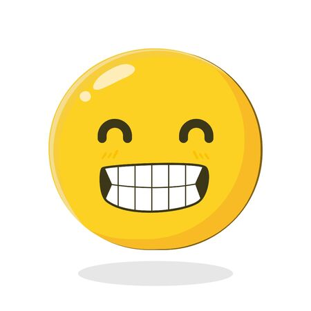 Emoticon with big toothy smile. Cartoon Isolated vector illustration on white background