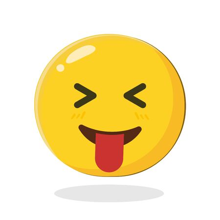 Emoticon with stuck out tongue and tightly closed eyes. Cartoon Isolated vector illustration on white background