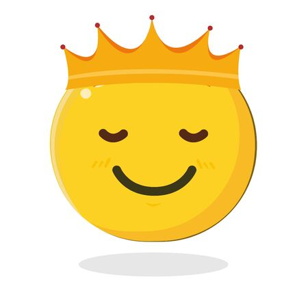 Emoticon king with crown. Cartoon Isolated vector illustration on white background Ilustração