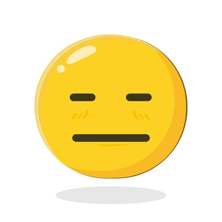 Emoticon expressionless smiley. Pocker-faced. Cartoon Isolated vector illustration on white background