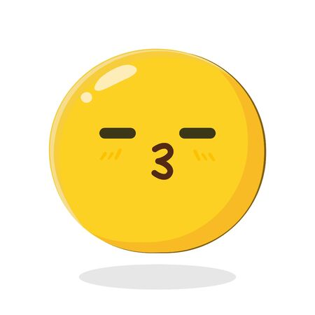 Yellow emoticon love kiss face expression. Cartoon Isolated vector illustration on white background
