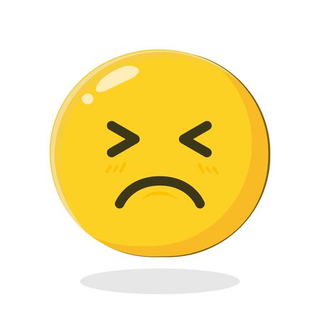 Feel bad emoticon. Cartoon Isolated vector illustration on white background Vectores
