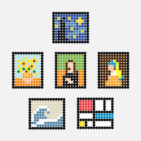 World's Most Famous Painting in pixel art Vector Illustration