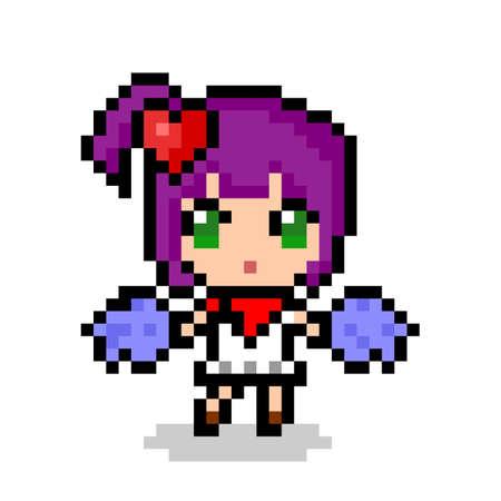 Pixel image of cute cheerleading girl. vector illustration