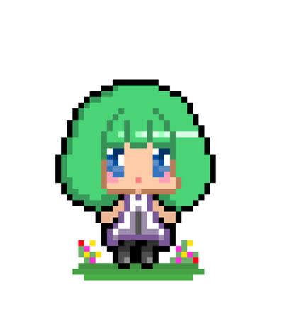 Pixel image of cute anime little girl. vector illustration Ilustración de vector