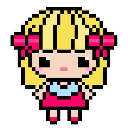 Pixel girl. Cute girl pattern image. Vector illustration of pixel art