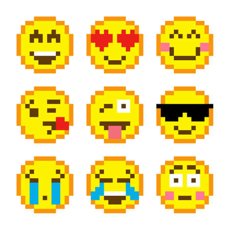 Image of pixel smile icon. Vector illustration of cross stitch and t-shirt pattern. Vetores