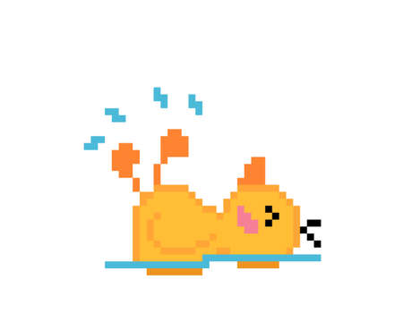 Little duck pixels swimming on the water. Vector illustration for 8 bit game and cross stitch pattern. Ilustración de vector
