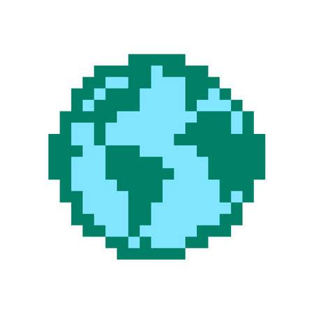 Earth. Pixel earth globe image. Vector Illustration of pixel art. Vector Illustration