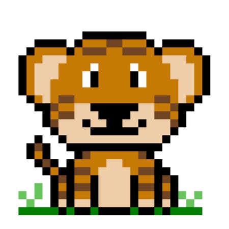 Tiger pattern. Pixel tiger image. Vector Illustration of pixel art.