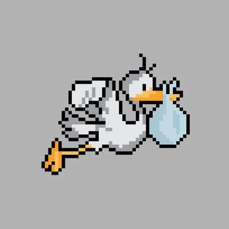 Pixel of a stork. Stork carrying a baby in a bag. Vector illustration of a cross stitch. Ilustración de vector