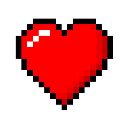 Pixel love. Vector Illustration of pixel art.