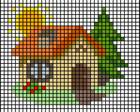 Little house mosaic pixel. block home for tile and pattern. Vector illustration of mosaic.