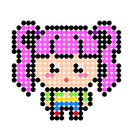 A little girl's dot pattern. Vector illustration of pixel art. Ilustración de vector